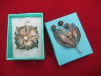 Vintage Sterling Silver Leaf and Pearl Brooch + Further Leaf Brooch.
