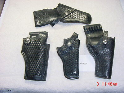 POLICE DUTY HOLSTER LOT 4 PCS ALL RIGHT HAND CATHEY TRIPLE K SHOEMAKER VINTAGE?