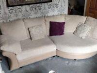 Cream fabric suite, 3 seat sofa, 'cuddler' sofa and foot stool