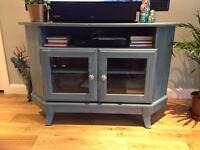 Blue corner TV unit
