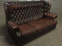 Brown leather chesterfield 3seater sofa