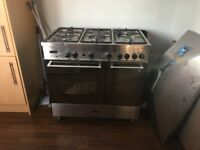 Multi fuel freestanding range cooker Delonghi stainless steel