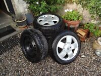 4 x Dunlop Rain Tyres. 185/55/R15 on Renault alloys to fit Clio Mk2. + unused spare Michelin.