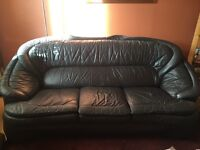 3 Seater Navy Blue Leather Sofa, very comfy