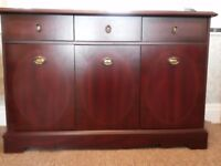 Sideboard Mahogany effect. 3 Cupboards with centre shelves. 3 Drawers