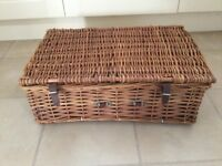 Wicker picnic basket with cups, saucers, plates etc.