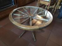 Bespoke glass topped coffee table, wheel design