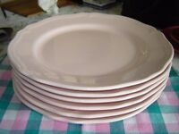 Set of 6 Dinner Plates, pale pink, 11 inches diameter