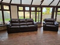 DFS DARK BROWN LEATHER 3 SEATER AND MATCHING CHAIR..GOOD CONDITION