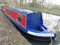 36ft narrow boat, Perkins water cooled diesel engine, dual fuel Morso stove.