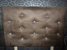 Single Chocolate Headboard - Suede with diamante