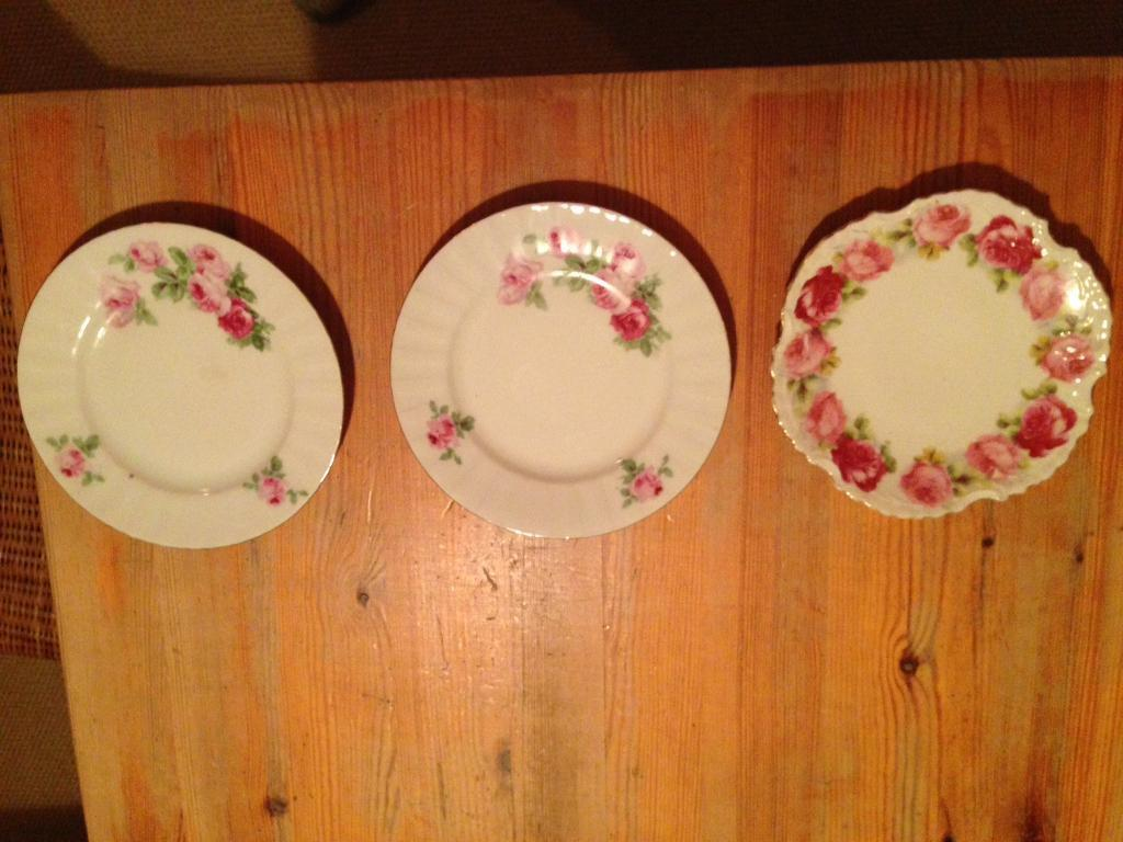 3 shabby chic side plates