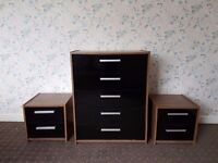 Chest of drawers with matching bedside tables