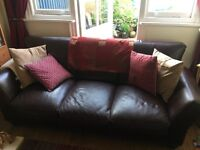 3 seater leather settee and arm chair ox blood red