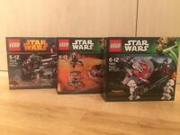 Set of 3 brand new sealed Lego Star Wars battle packs for sale. Discontinued. No offers