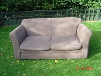 Brown Suede Metal Framed Sofa Bed. Good Condition. Can Deliver.
