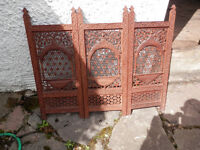 Antique oriental carved fire screen