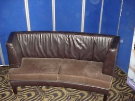 Two Seater Sofa Brown Leather Fawn Suedette