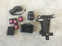 Lumix GH4 Camera including lens, microphone, handle, batteries, charger and SD card