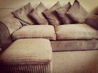 Extremly Comfortable Luxury Jumbo Cord 3&2seater sofa Setvwith footstool.