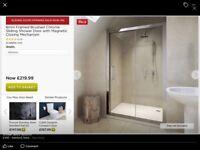 6mm Framed Brushed chrome sliding shower doors