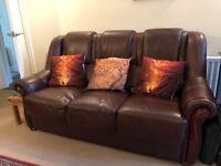 beautiful Sofa- dark brown faux leather