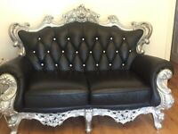 Black leather with diamond buttons 3-2-1