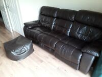 Electric reclining leather 3 seat sofa