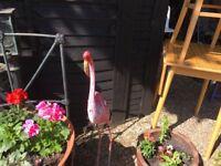 Pink Metal Flamingo