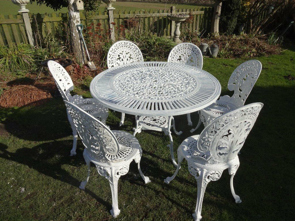 Cast Aluminium Garden Set Table 6 Chairs Large Victorian Style