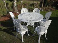 CAST ALUMINIUM GARDEN SET -- TABLE & 6 CHAIRS - LARGE - VICTORIAN STYLE -
