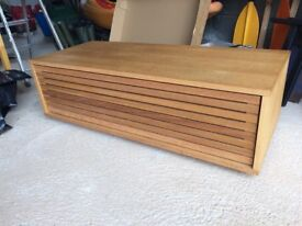 TV cabinet in oak with slatted front
