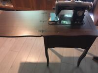 Vintage Cresta De Luxe Sewing Machine with accessories and fold out sewing table