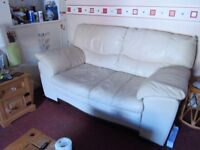 2-3 seater Cream leather sofa's in good condition