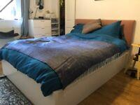 White IKEA MALM Double Ottoman Storage Bed with Custom Padded Headboard