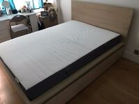 Barely Used Ikea MALM 4 drawer double bed frame and memory foam mattress - £125