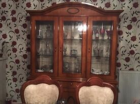 Table six chairs dresser and hi fi cabinet