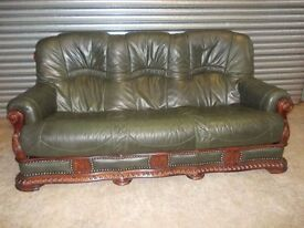 Antique Green Leather 3-1-1 Oak Frame Suite