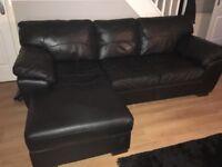 3 Seater & 2 Seater Black Leather Sofa