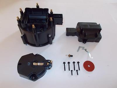 6 CYLINDER HEI Distributor Cap, Coil Cover & Rotor Kit BLACK GM-CHEVY-FORD V6 (Cap 6 Cylinder)