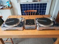 Stanton T80 Direct Drive turntables x2 and Numark M3 2-channel mixer and Technics 1200 Headphones