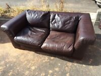 Chocolate leather 2&3 seater sofas - offers invited!!