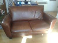 Natuzzi Brown Leather Sofa 1 of 2