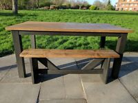 Large rustic farmhouse kitchen/dining table & matching bench. Charcoal shabby chic. Local delivery
