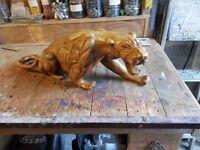 Large Hand Carved Wooden Statue of Jaguar/Panther