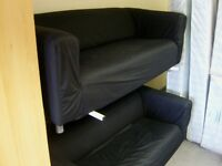 2 X Black Large 2 Seater Ikea Klippan Sofas Settees with Loose Washable Covers. 2 Piece Suite
