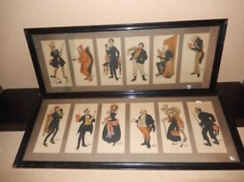 Very Rare Antique / Vintage Will Owen Lithograph Set - Charles Dickens