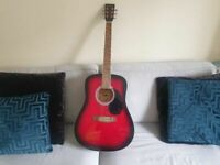 Rikter D-2RB Full Sized Steel String Acoustic Guitar - red Burst good condition fully work