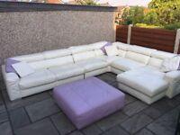 Large White Leather Sofa