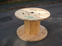 Large Wooden Reclaimed Industrial Cable Reel/Drum,Table, 120 cm x 80 cm Upcycled/Craft project.